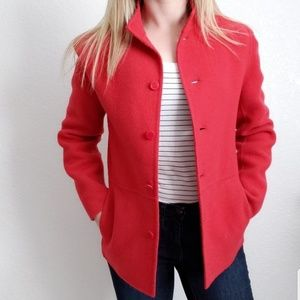 Eileen Fisher Cashmere/Wool Red/Pink Jacket Coat